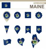 Maine Flag Collection — Stock Vector