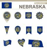 Nebraska Flag Collection — Stock Vector