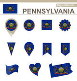Pennsylvania Flag Collection — Stock Vector