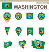 Washington Flag Collection — Stock Vector