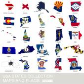 USA state collection, maps and flags — Stock Vector