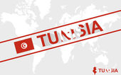 Tunisia map flag and text illustration — Stock Vector
