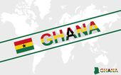 Ghana map flag and text illustration — Stock Vector