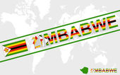 Zimbabwe map flag and text illustration — Stock Vector