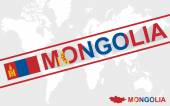 Mongolia map flag and text illustration — Stock Vector