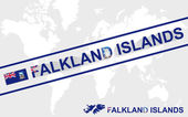 Falkland Islands map flag and text illustration — Stock Vector