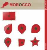Morocco Flag Set, Flag Set 50 — Stock Vector