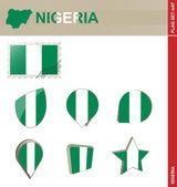 Nigeria Flag Set, Flag Set 67 — Stock Vector