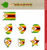 Zimbabwe Flag Set, Flag Set 85 — Stockvektor