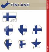 Finland Flag Set, Flag Set 28 — Stock Vector
