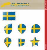 Sweden Flag Set, Flag Set 27 — Stock Vector