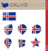 Iceland Flag Set, Flag Set 45 — Stock Vector