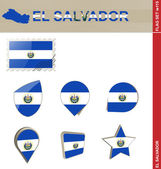 El Salvador Flag Set, Flag Set 115 — Stock Vector
