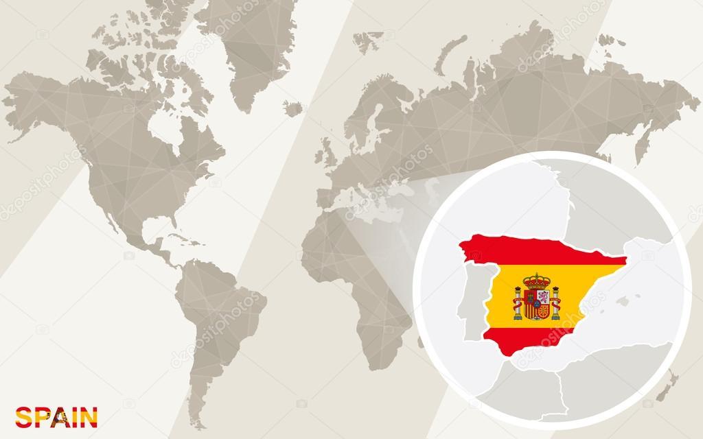 缩放西班牙地图和国旗.世界地图