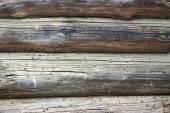 Mur de bois de grumes en déclin poutres — Photo