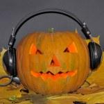 Pumpkin with headphones — Stock Photo #55778255