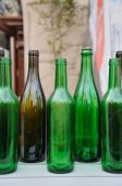 Bunch of empty glass  bottles — Stock Photo