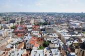 Lviv bird's-eye view of from of the City Hall, Ukraine  — Stock Photo