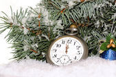 Happy New Year. Composition with old clock — Stock Photo