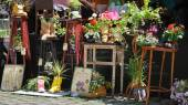 """LVIV, UKRAINE - June 19, 2013: Cafe """"Flowers in Boots."""" in the c — Stock Photo"""