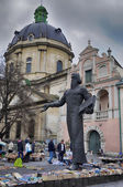 LVIV, UKRAINE - APRIL 16: statue of Ivan Fedorov on April 16, 20 — Stock Photo