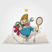 Mechanic Carlsson play in tennis — Stock Vector