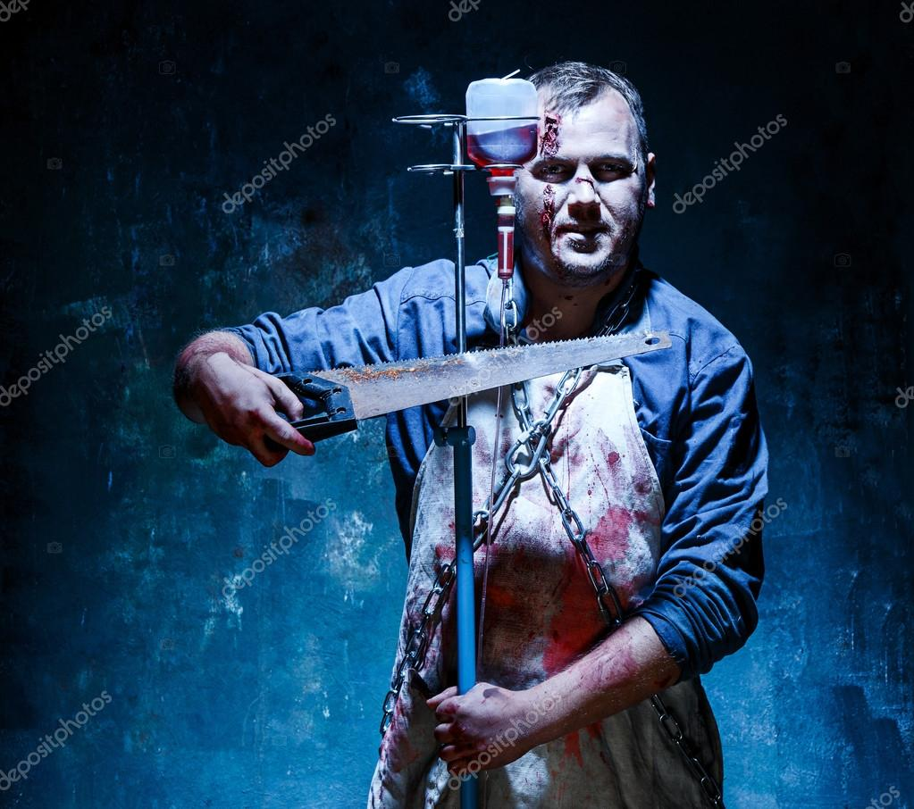 Gmail themes halloween - Bloody Halloween Theme Crazy Killer As Bloody Butcher With Saw On Dark Blue Background Photo By Vova130555 Gmail Com