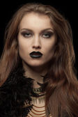 Closeup portrait of a gothic femme fatale with black lips — Foto de Stock