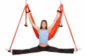 Young woman making antigravity yoga exercises in stretching twine — Foto de Stock