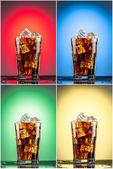 Vetro con Coca cola e ghiaccio. Insieme di quattro ambiti di provenienza — Foto Stock