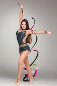 Teenager doing gymnastics dance with ribbon — Foto de Stock