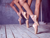 The feet of a young ballerinas in pointe shoes  — Stock Photo