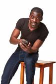 Portrait of african man talking on the phone — Stock Photo