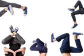 Multiple image of young man break dancing — Stock Photo