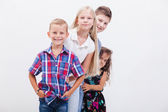 The smiling teenagers on white — Stock Photo