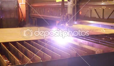 Plasma welding robot at work — Stock Video