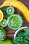 Blended smoothie with ingredients selective focus square image — Stock Photo