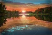Sunset on Silver lake — Foto Stock