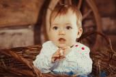 Meisje, zittend in een rieten mand — Stockfoto