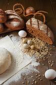 Fresh dough in flour with rye bread — Stok fotoğraf