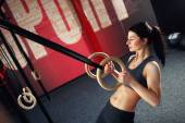 Crossfit workout on ring — Stock Photo