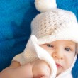 Two and half month adorable baby in white bobble hat — Stock Photo #55858283