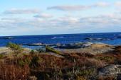 Blue sky above a rocky coast — Stock Photo