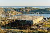 Observation deck on old building port defense system — Stock Photo