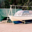 Green tents canvas tents over boats — Stock Photo #62328165