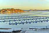 Winter view of an empty dock for boats — Stockfoto