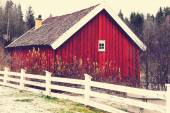 Red od wooden barn — Stock Photo