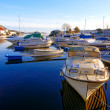 Boats in the harbor covered with frost — Stock Photo #63847135