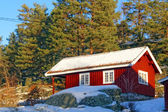 Red cottage in a beautiful snow forest — Stock Photo
