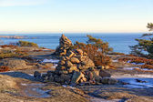 Norwegian cairn a man-made pile or stack of stones — Stock Photo
